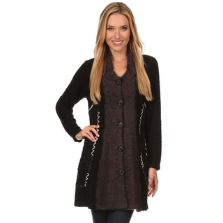 High Secret Women's Black, Grey Acrylic, Polyester Snaggy Knit Button Down Cardgan