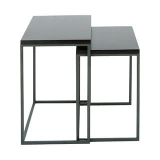 Benzara Grey Metal and Wood 22-inch and 25-inch Nesting Table (Set of 2)