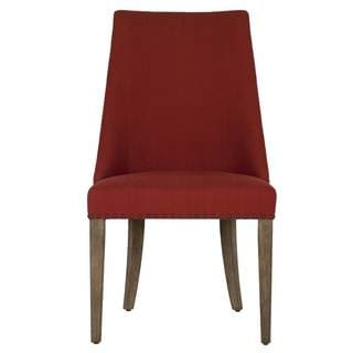 Grey Manor Jasmine Red Cotton Dining Chair with Grey Acacia and Veneer Legs