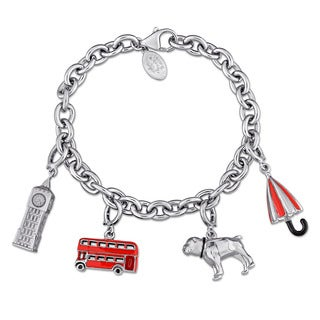 Laura Ashley Great Britain Collection Themed Charm Bracelet in Sterling Silver with Black Red and White Enamel