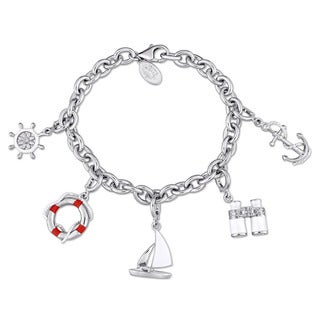 Laura Ashley Nautical Collection Created White Sapphire Sailor's Charm Bracelet in Sterling Silver with White and Red Enamel