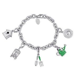 Laura Ashley Garden Collection Created White Sapphire Charm Bracelet in Sterling Silver with Green White and Black Enamel