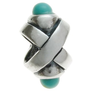 Queenberry Sterling Silver Turquoise Ribbon European Bead Charm