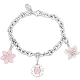 Laura Ashley Botanical Collection Triple Flower Charm Bracelet in Sterling Silver with Pink White and Black Enamel