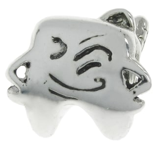 Queenberry Sterling Silver Winking Smily Strong Tooth w/ Brush European Bead Charm