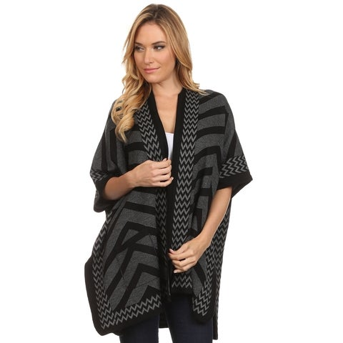 High Secret Women's Black and Grey Acrylic Chevron-print Wrap Poncho Cape with Pockets