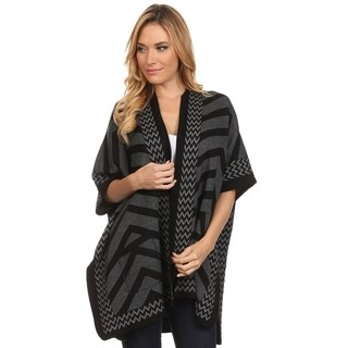 High Secret Women's Black and Grey Acrylic Chevron-print Poncho Cardigan with Pockets