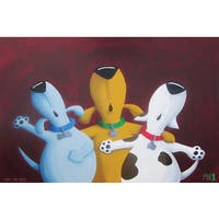 Marmont Hill - 'Three Dog Night' by Mike Taylor Painting Print on Wrapped Canvas - Multi-color
