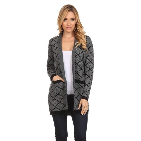 Women's Black/Grey Geometric-Print Open-Front Cardigan