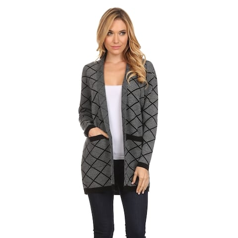 Women's Black/Grey Geometric-Print Open-Front Cardigan