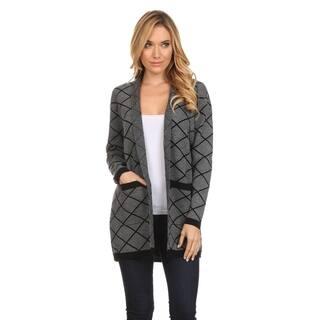 High Secret Women's Black and Grey Acrylic Geometric-print Open-front Cardigan https://ak1.ostkcdn.com/images/products/13524922/P20206007.jpg?impolicy=medium