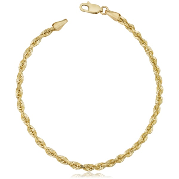 Fremada 10k Yellow Gold 3.2mm Semi Solid Rope Chain Bracelet. Opens flyout.