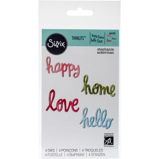 Sizzix Thinlits Dies 4/Pkg-Circle Words-Love, Hello, Happy, Home