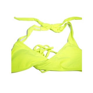 Women's Neon Yellow Nylon and Spandex Wrap Halter Top