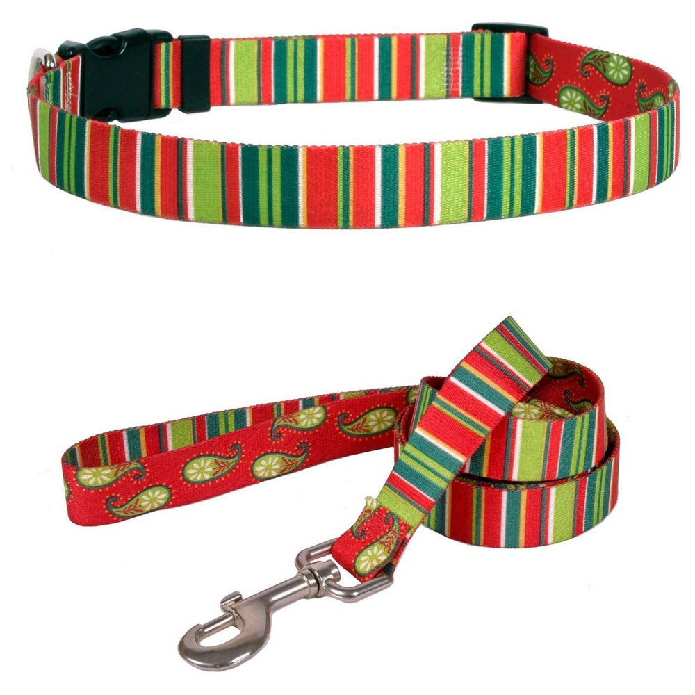 Yellow Dog Design Holiday Stripes Pet Standard Collar and...