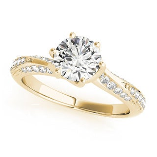 Transcendent Brilliance 14k Gold 3/4ct TWD Curved Band Diamond Engagement Ring