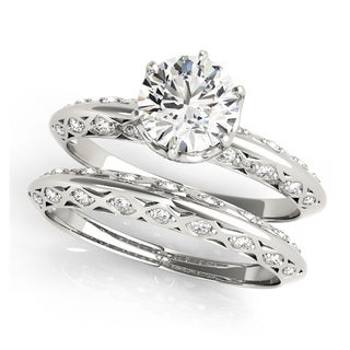 14k White, Rose, or Yellow Gold 3/4ct TDW Diamond Unique Basket Bridal Ring Set