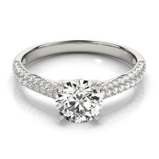14k White, Rose, or Yellow Gold 1 1/4ct TDW Diamond Cathedral Pave Petite Engagement Ring
