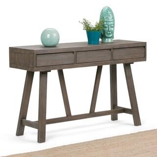 WYNDENHALL Stewart Solid Wood 48 inch Wide Modern Industrial Hallway Console Table in Driftwood - 48 W x 15 D x 30 H