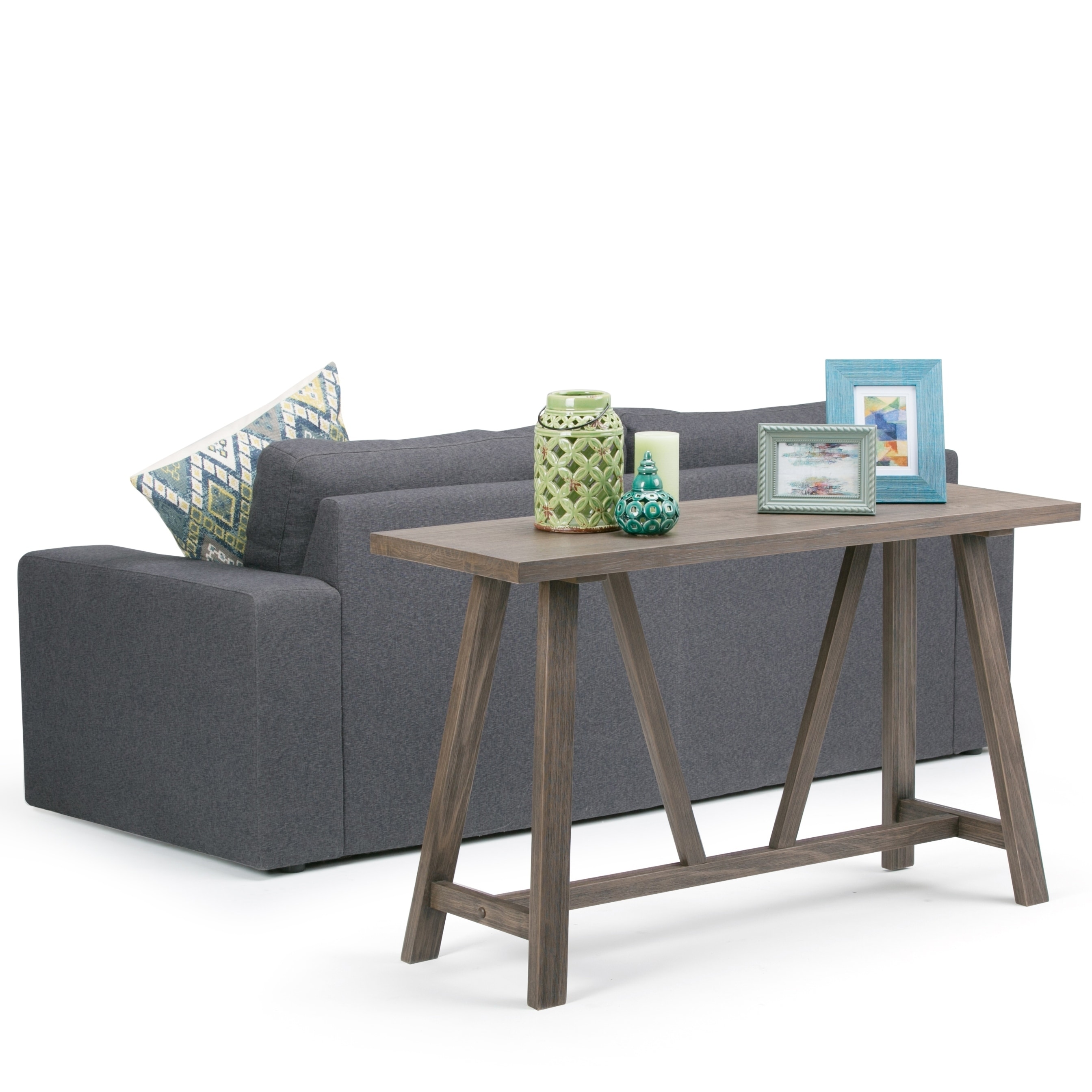 Wyndenhall Solid Wood 50 Inch Wide Modern Console Sofa Table In Driftwood