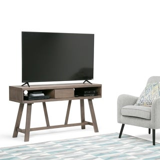 WYNDENHALL Stewart 54 inch TV Media Stand for in Driftwood Finish for TVs up to 60 inches