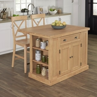 Home Styles Nantucket Natural Butcher Block Top Kitchen Island with 2 Stools