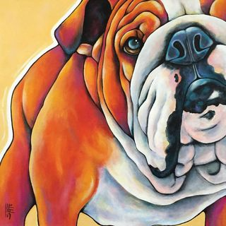 Marmont Hill - 'English Bulldog' by Stephanie Gerace Painting Print on Wrapped Canvas