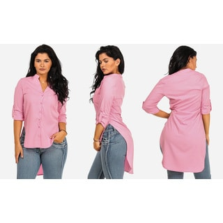 Women's Juniors-size Pink Polyester/Spandex High-low Tunic Shirt