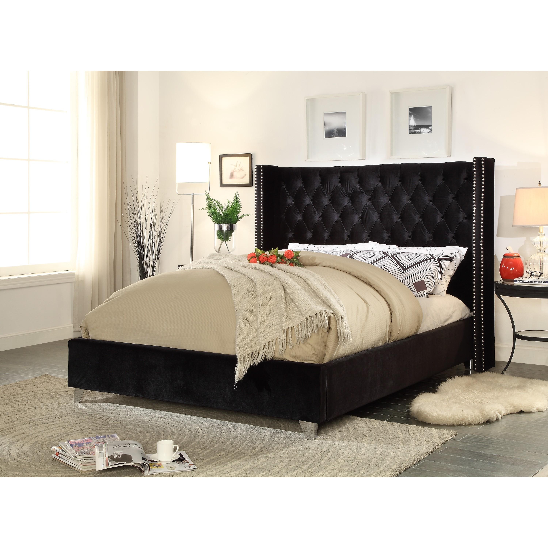 Aiden Black Velvet Bed On Sale Overstock 13525280