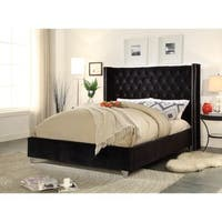 Aiden Black Velvet Bed