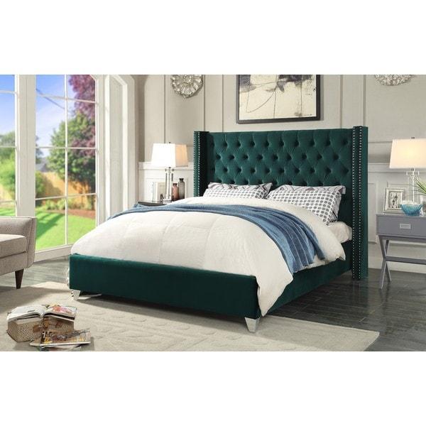 Aiden Green Velvet Bed