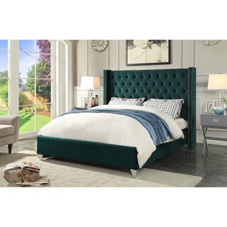 Aiden Green Velvet Bed