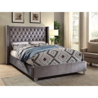 Aiden Grey Velvet Bed