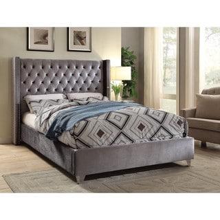 Aiden Grey Velvet Bed