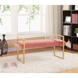 Meridian Olivia Pink Velvet Bench