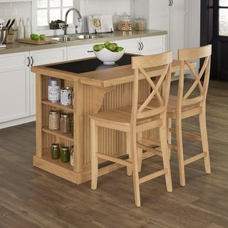 Nantucket Natural Kitchen Island with Granite Top and 2 Stools by Home Styles