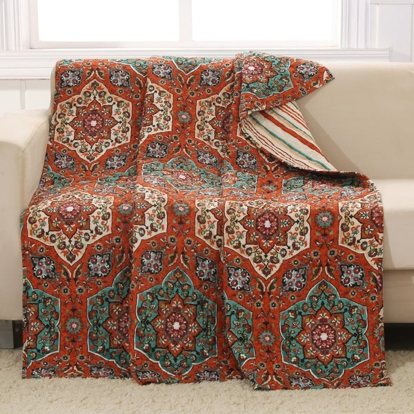 Barefoot Bungalow Sofia Quilted Reversible Throw