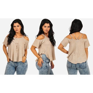 Juniors' Beige Cotton Cold Shoulder Short Sleeve Top with Necklace
