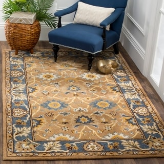 Safavieh Hand-Woven Heritage Camel/ Blue Wool Rug (4' x 6')