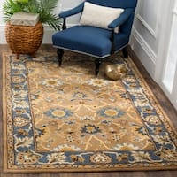 Safavieh Hand-Woven Heritage Camel/ Blue Wool Rug - 5' x 8'