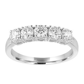 10k White Gold Five 1ct TDW Diamond Ring (I-J, I2-I3)