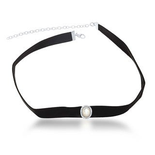 La Preciosa Sterling Silver Oval Mother of Pearl and Cubic Zirconia Suede Choker Necklace