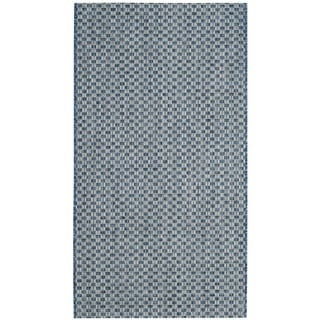 Safavieh Indoor/ Outdoor Courtyard Blue/ Light Grey Rug (2' x 4')