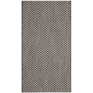 Safavieh Indoor/ Outdoor Courtyard Black/ Light Grey Rug (2' x 4')