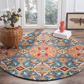 Safavieh Hand-Woven Heritage Camel/ Blue Wool Rug (6' Round)