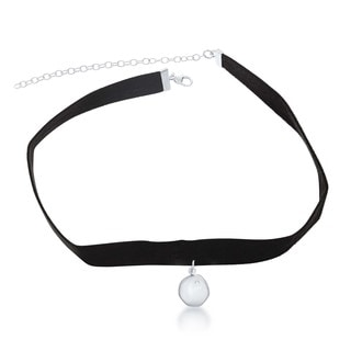 La Preciosa Sterling Silver Hanging Disc with Cubic Zirconia Suede Choker Necklace