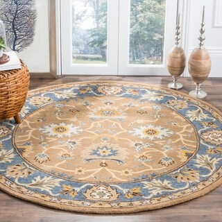 Safavieh Hand-Woven Heritage Camel/ Blue Wool Rug - 6' Round