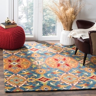 Safavieh Hand-Woven Heritage Camel/ Blue Wool Rug (6' Square)