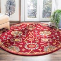 Safavieh Hand-Woven Heritage Red Wool Rug - 6' Round