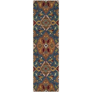 Safavieh Hand-Woven Heritage Camel/ Blue Wool Runner (2' x 8')